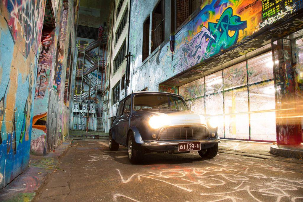 1963 Mini in Hosier Lane with Headlights