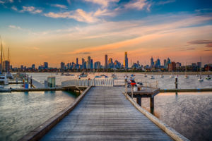 City Skyline from St Kilda at Sunset